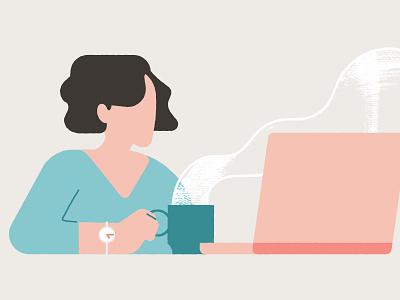 Morning Routine timepiece habit generic schedule time news work laptop caffeine coffee character design illustration
