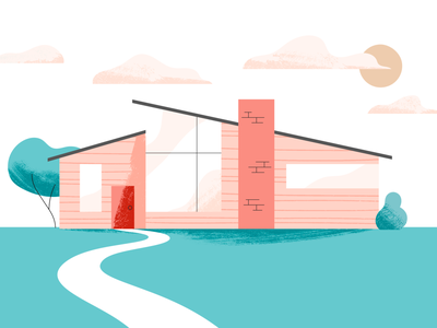 Mid-Century Dreaming real estate property flat daydream home house design illustration