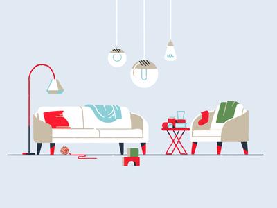 Dirty Living Room interior furniture mid century minimal design 2d illustration