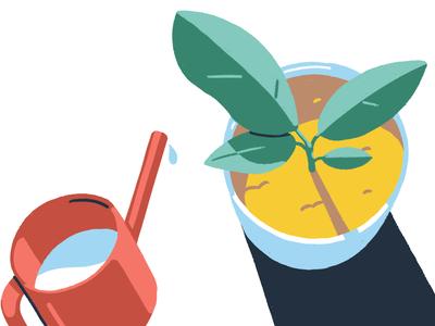 Water da Plant minimal pot water plant photoshop adobe storyboard styleframe design illustration