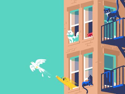 Cities For Kitties dove cat minimal photoshop design adobe 2d illustration