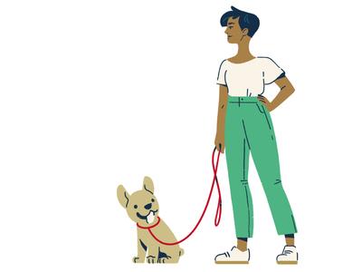 July diversity color dog bulldog french bulldog frenchie concept motion character photoshop design adobe 2d illustration