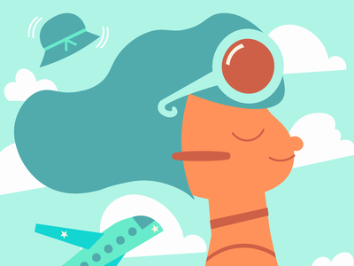 Challenge #FunWithFaces with Charly Clements travel vacations airplane illustration