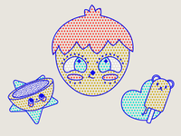 Snack Guy 🍭 kid boy fun adobe illustrator kawaii cute face dotwork texture 70s food headshot character vintage dots illustration