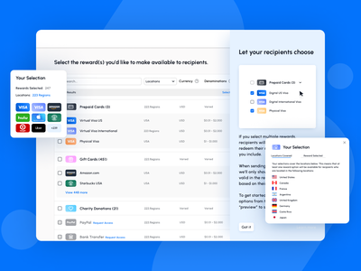 Reward selection helpers reporting ui design ui complex tables chart product design