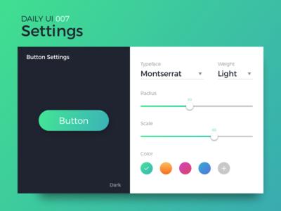 Settings ui web font slider button settings edit dailyui