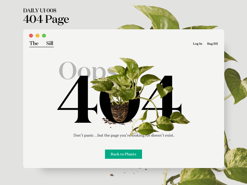 404 Page window error page 404 plant web dailyui