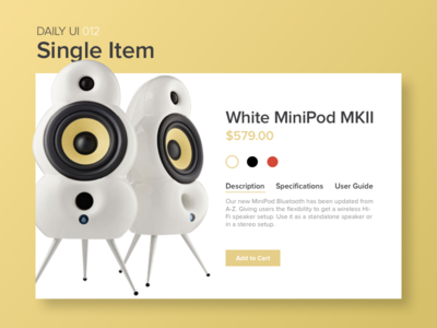 E-commerce Shop (Single Item) uiux interface ux ui web product cart speakers item buy shop dailyui