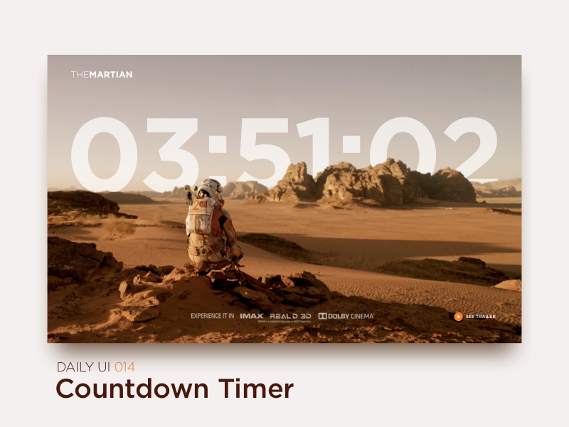 Countdown Timer uiux interface ux ui the martian trailer movie web promo timer countdown dailyui
