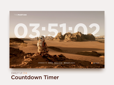Countdown Timer uiux interface ux ui the martian trailer movie web promo timer countdown dailyui