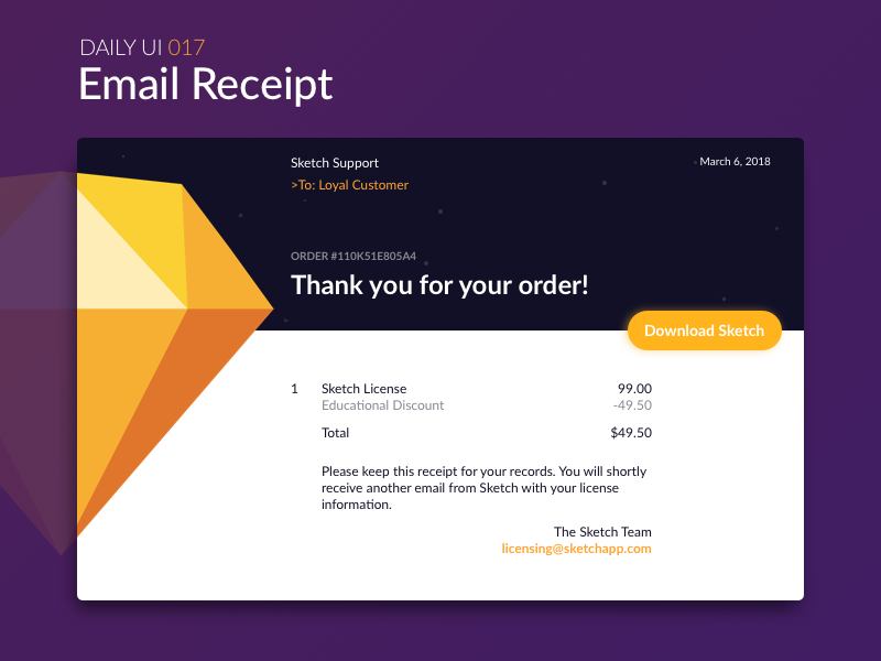 Email Receipt interface receipt download confirmation order email sketch web dailyui