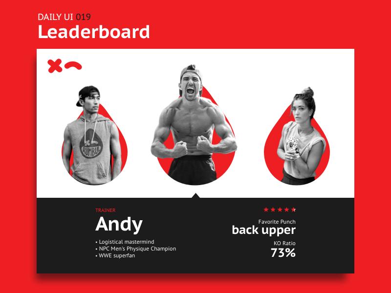 Leaderboard uiux interface ranking user profile stats boxing rumble leaderboard web dailyui