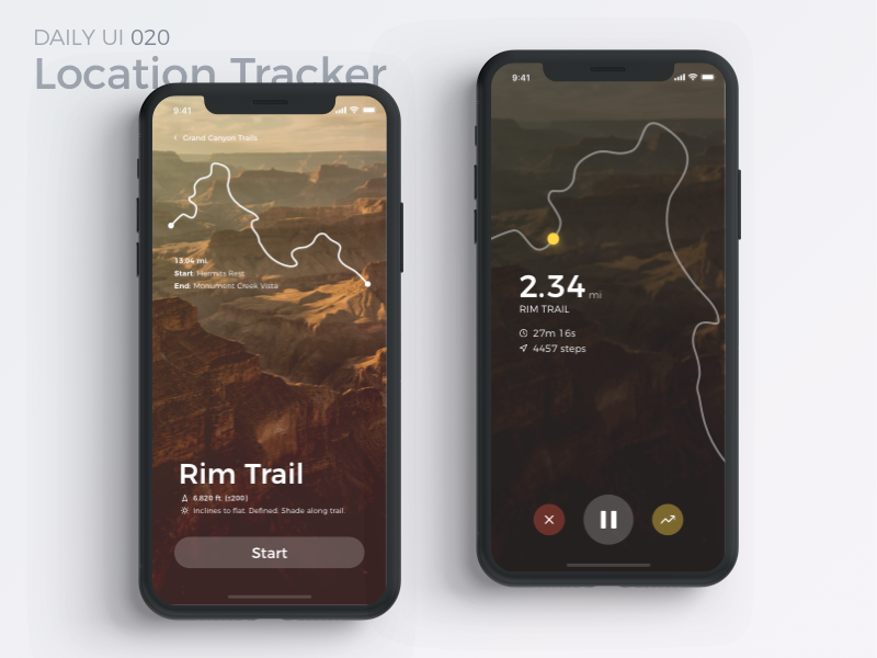 Location Tracker dailyui app map location tracker canyon fitness run workout mobile interface uiux