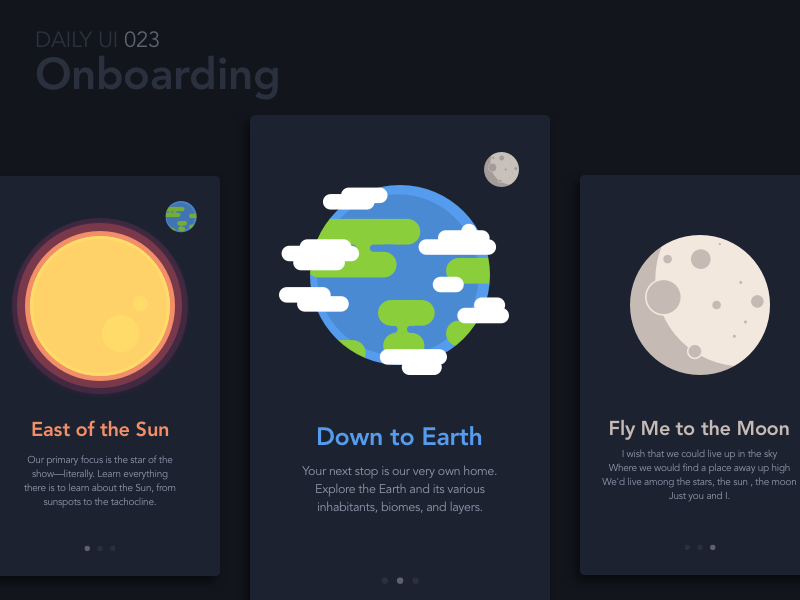 Onboarding uiux interface app mobile spaced exploration space moon earth sun onboarding dailyui