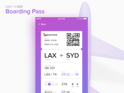 Boarding Pass uiux interface ux ui mobile app boarding pass ticket flight dailyui
