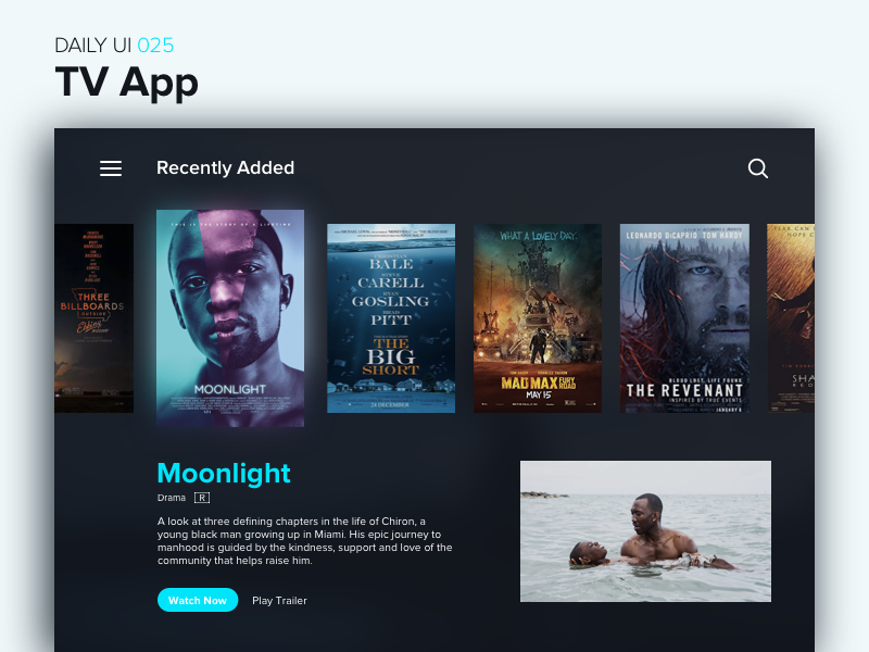 TV App uiux interface video play app tv browse watch movie netflix dailyui