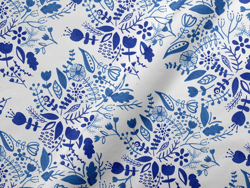 Blue Florals flora florals plants graphics illustration design surface pattern pattern floral flowers