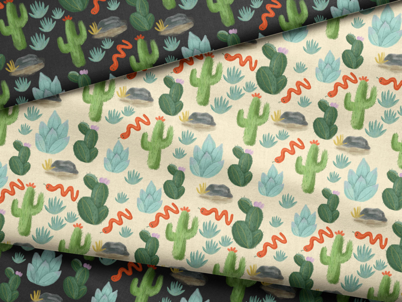 Cactus fabric surfacepattern patterns snake desert plants succulents cactus