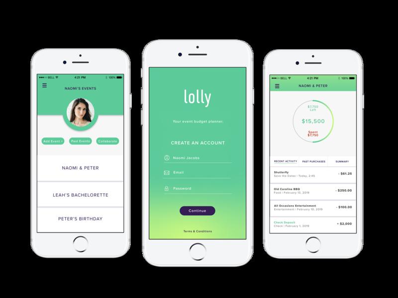 Lolly: Event Budget Planner logo vector ux typography application branding app branding ios app ui design illustration