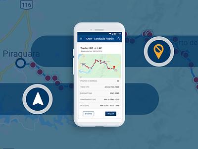 APP Condução (GPS para maquinista) desenho invision overflow sketch mobile app