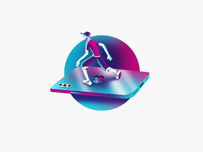 Flying is easy ui flat ipad pro ipad app procreate iphone minimal product design vector branding design illustration