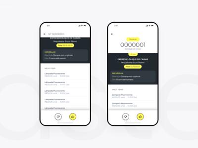 Swipe yellow black UI mobile