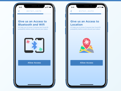 De Corona - COVID-19 App - Access request covid19 location bluetooth access wizard sign health covid covid-19 design mobile ui mobile ui ux