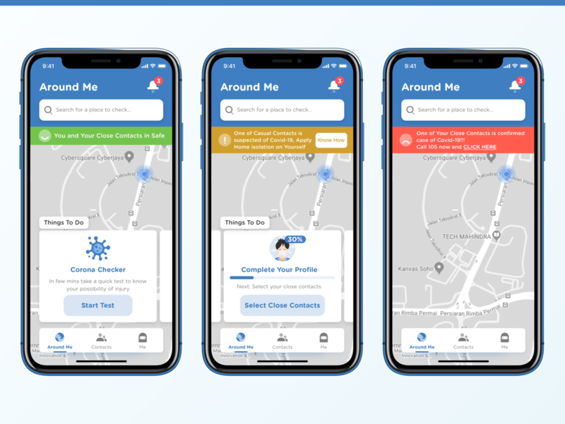 De Corona - COVID-19 App - Home app things to do search clean around map health mobile ui mobile ui ux covid-19 covid19