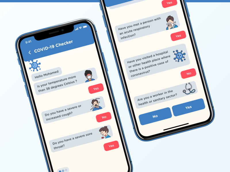 De Corona - COVID-19 App - Checker Chatbot staysafe stayhome chatbot checker health covid-19 covid covid19 app mobile ui mobile ui ux