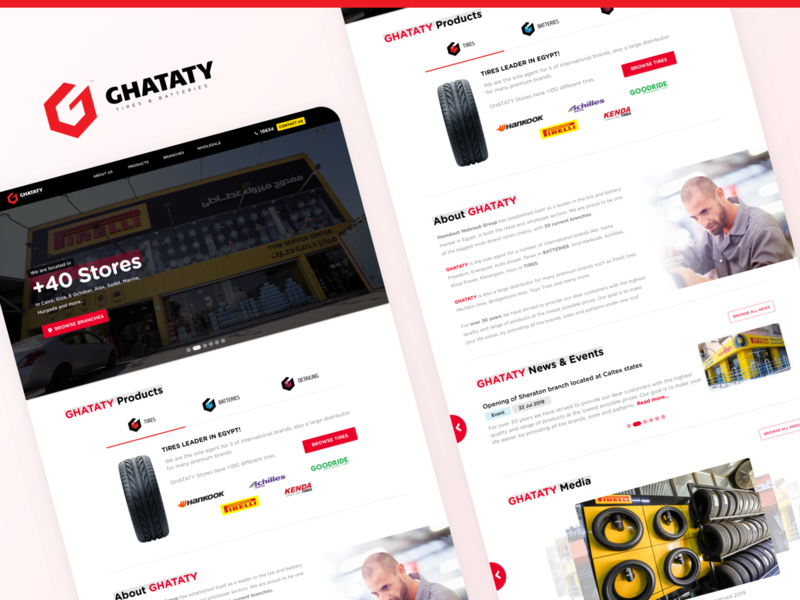 GHATATY Website - Landing Page home screen home page landing page red redesign battery tires car website design website web ui ux