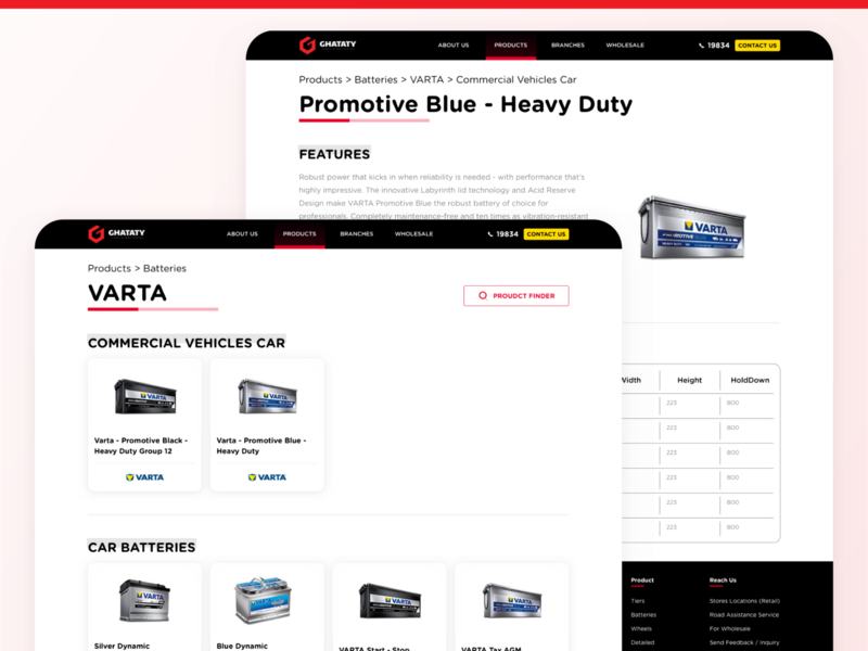 GHATATY Website - Brand / Product Page battery tires car specification page product brand category website design web design website ui ux web