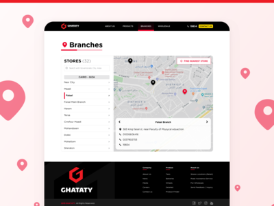 GHATATY Website - Branches Page tires web design website web navigate locator finder map location stores ui ux branches branch
