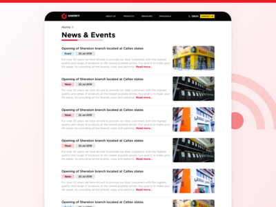 GHATATY Website - News / Events Page ghataty website web ui ux blog events news