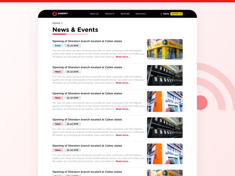 GHATATY Website - News / Events Page ghataty website web ui ux blog events news