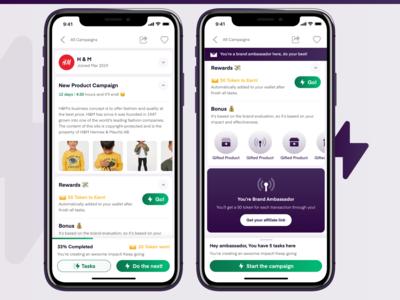 Smart Pay | Campaigns Management App progress cta reward campaign brand app mobile ui mobile ui ux
