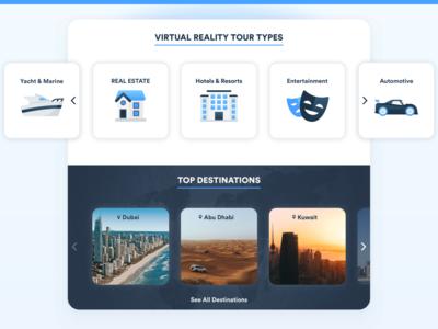Virtual Reality Tours agency website destinations yacht automotive entertainment hotel blues ui website illustration icon design iconography icons