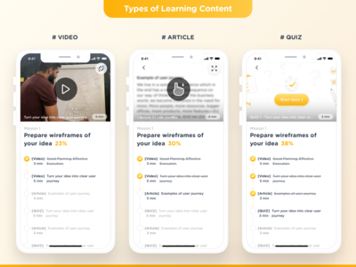 Gamified E-learning Mobile app | Content types