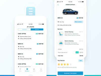 Autevo 🚙 My Orders List previous upcoming review order orders list book wash mobile ui ux vector ui mobile illustration app