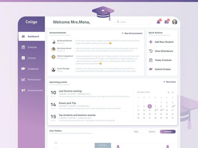 School Admin Dashboard - Learning Management System (Coligo) learning management system entrepreneurship ux ui learning admin design admin dashboard dashboad admin panel admin school