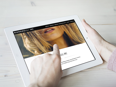 Signorelli, Inc. ux ui development design clothing women fashion elegant clean simple ipad homepage