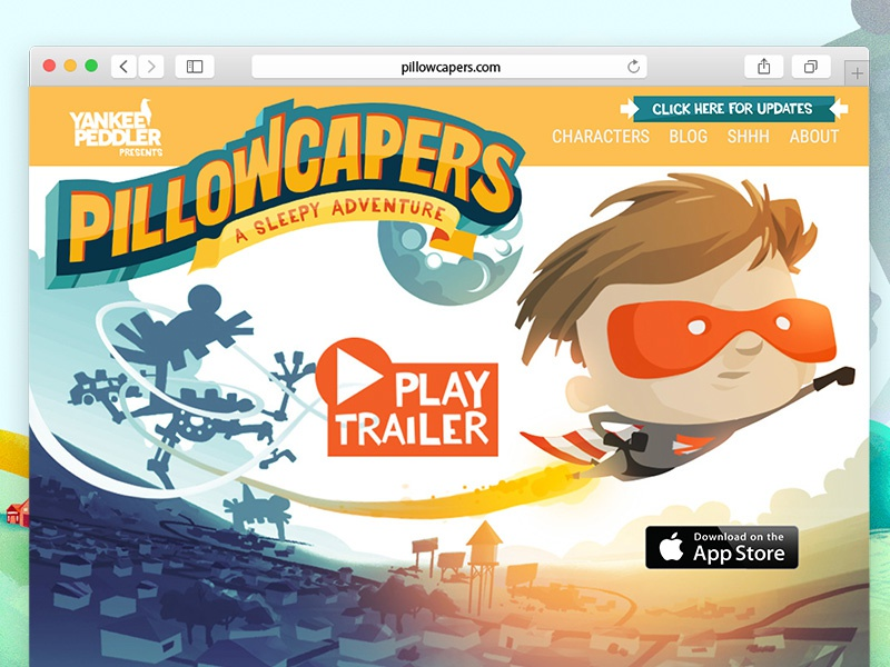 Pillowcapers ipad experience magical kids bed pillowcapers development design web cartoon front-end ux