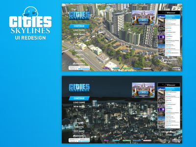 Cities: Skylines - UI Redesign (Main Menu) ui main menu ux redesign game ui