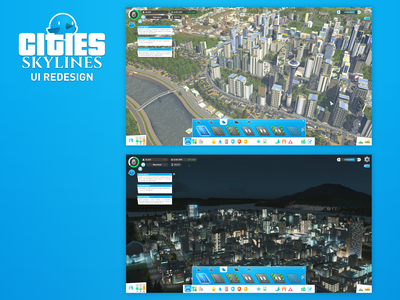 Cities: Skylines - UI Redesign (HUD) ui ux redesign hud game ui