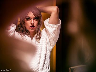 Drag queen life 03 photography woman wig man luxury lgbt gay drag queen diva blonde bathroom
