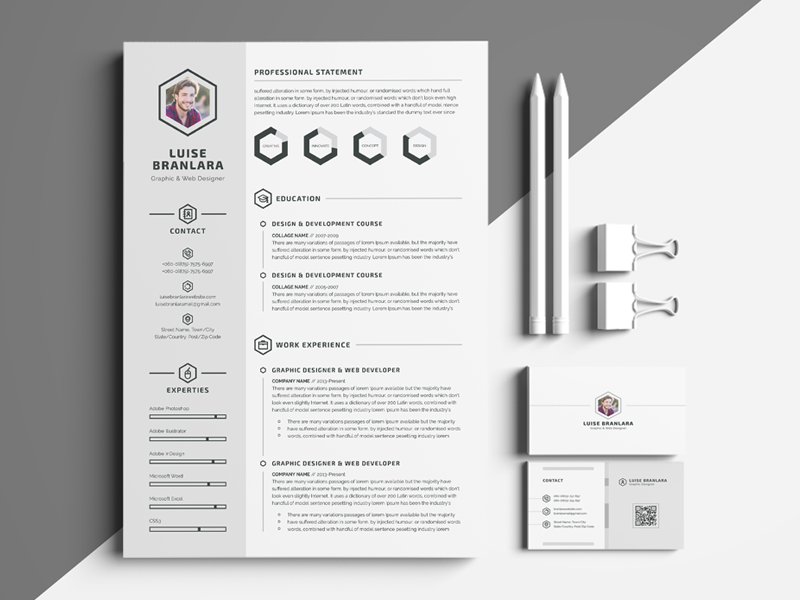 3 pages minimalist resume template by white graphic dribbble