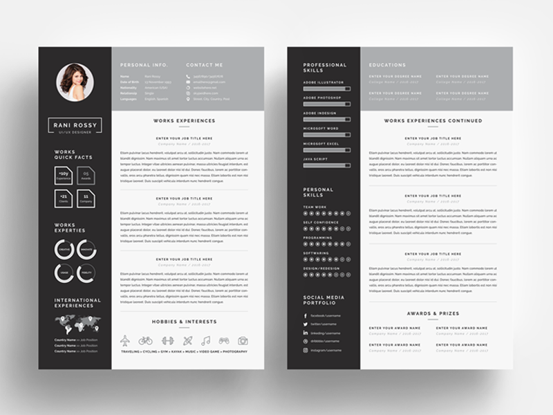 word infographic cv by white graphic