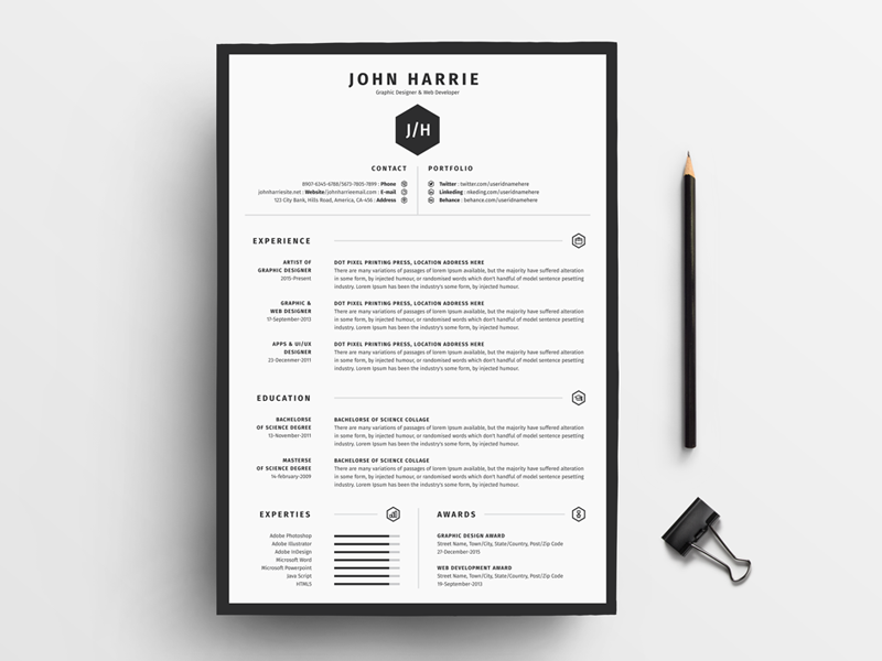 The Clean Cv By White Graphic On Dribbble