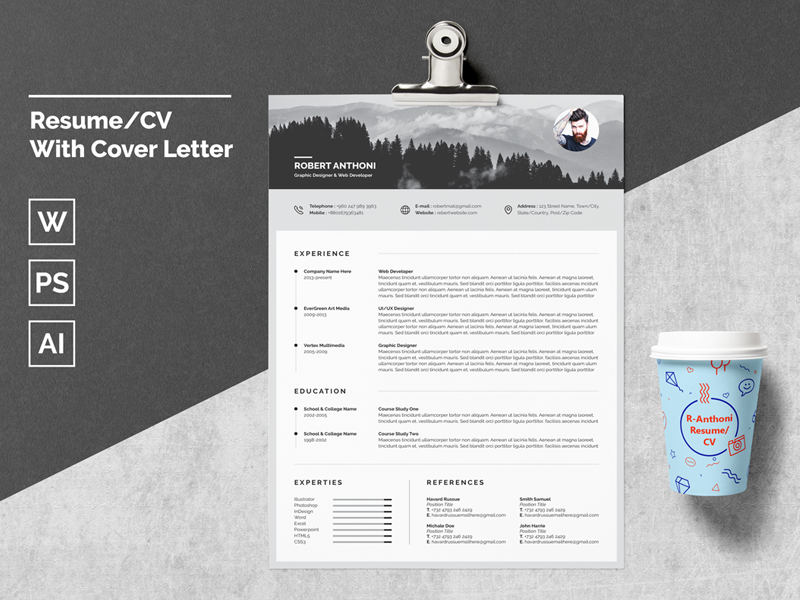 Resume/CV With Cover Letter by White Graphic | Dribbble ...