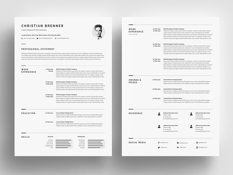 Minimal Resume Template 4 Pages by White Graphic on Dribbble
