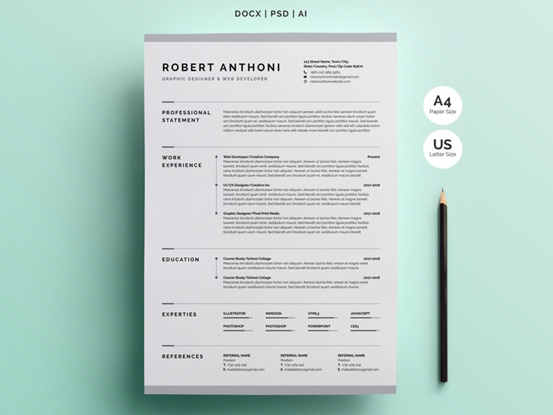 creative resume  cv template by white graphic on dribbble